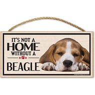 "Imagine This Company ""It's Not a Home Without"" Wood Breed Sign, Beagle"