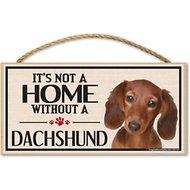 "Imagine This Company ""It's Not a Home Without"" Wood Breed Sign, Dachshund"