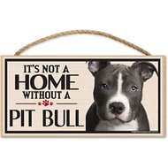 "Imagine This Company ""It's Not a Home Without"" Wood Breed Sign, Pit Bull"