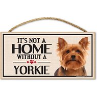 "Imagine This Company ""It's Not a Home Without"" Wood Breed Sign, Yorkie"