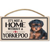 "Imagine This Company ""It's Not a Home Without"" Wood Breed Sign, Yorkiepoo"