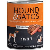 Hound & Gatos Beef Formula Grain-Free Canned Dog Food, 13-oz, case of 12