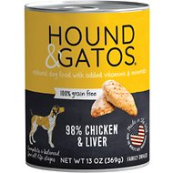 Hound & Gatos Chicken & Chicken Liver Formula Grain-Free Canned Dog Food, 13-oz, case of 12