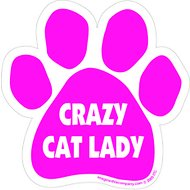 "Imagine This Company ""Crazy Cat Lady"" Magnet, Paw Shape, Pink"