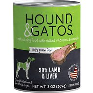 Hound & Gatos Lamb Formula Grain-Free Canned Dog Food, 13-oz, case of 12