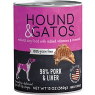 Hound & Gatos Pork Formula Grain-Free Canned Dog Food, 13-oz, case of 12