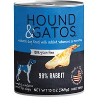 Hound & Gatos Rabbit Formula Grain-Free Canned Dog Food, 13-oz, case of 12