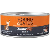 Hound & Gatos Beef Formula Grain-Free Canned Cat Food, 5.5-oz, case of 24