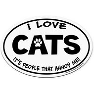 "Imagine This Company ""I love Cats, It's People That Annoy Me"" Magnet, Oval Shape"