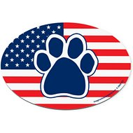 Imagine This Company American Flag Paw Print Magnet, Oval Shape
