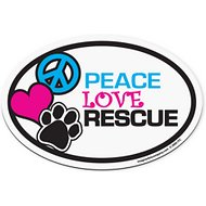 "Imagine This Company ""Peace, Love, Rescue"" Magnet, Oval Shape"