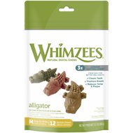 WHIMZEES Alligator Dental Dog Treats, Medium,12 count