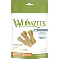 WHIMZEES Rice Bones Dental Dog Treats, Large, 9 count
