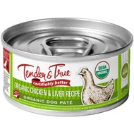 Tender & True Organic Chicken & Liver Recipe Grain-Free Canned Dog Food, 5-oz, case of 24