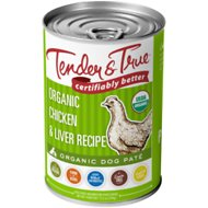 Tender & True Organic Chicken & Liver Recipe Grain-Free Canned Dog Food, 12.5-oz, case of 12
