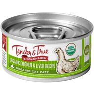 Tender & True Organic Chicken & Liver Recipe Grain- Free Canned Cat Food, 5.5-oz, case of 24