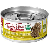Tender & True Organic Turkey & Liver Recipe Grain- Free Canned Cat Food, 5.5-oz, case of 24