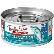 Tender & True Sustainable Seafood Ocean Whitefish & Potato Recipe Grain- Free Canned Cat Food, 5.5-oz, case of 24