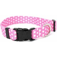 Yellow Dog Design New Pink Polka Dot Adjustable Dog Collar, Small