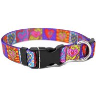 Yellow Dog Design Crazy Hearts Adjustable Dog Collar, Medium