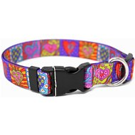 Yellow Dog Design Crazy Hearts Adjustable Dog Collar, Large