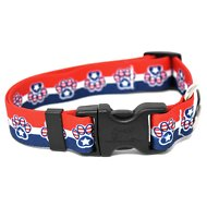 Yellow Dog Design Patriotic Paw Adjustable Dog Collar, Medium