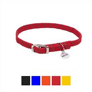 ElastaCat Reflective Safety Stretch Cat Collar , 10-inch, Red