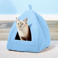 Petmaker Cozy Kitty Tent Igloo Plush Cat Bed, Blue