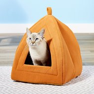 Petmaker Cozy Kitty Tent Igloo Plush Cat Bed, Brown