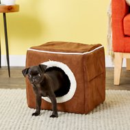 Petmaker Cozy Cave Enclosed Cube Pet Bed, Dark Coffee