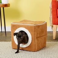 Petmaker Cozy Cave Enclosed Cube Pet Bed, Light Coffee