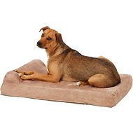 Big Barker Jr. Pillow Top with Headrest Orthopedic Dog Bed, Khaki, Medium