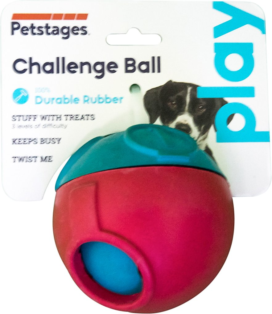 Dog Treat Dispenser >> Petstages Challenge Ball Treat Dispensing Dog Toy Chewy Com