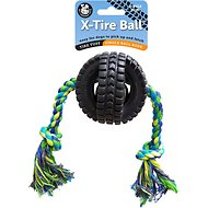 Pet Qwerks Jingle X Tire with Single Rope Dog Toy, Small