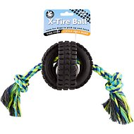 Pet Qwerks Jingle X Tire with Single Rope Dog Toy, Large