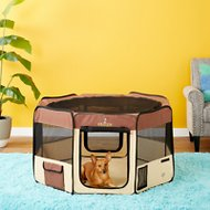 Zampa Pet Folding Playpen, Brown