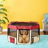 Zampa Pet Folding Playpen, Red