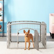 IRIS 4-Panel Exercise Plastic Playpen with Door, 24-in, Light Gray