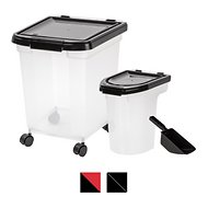 IRIS Airtight Food Storage Container & Scoop Combo, Black