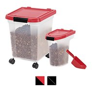IRIS Airtight Food Storage Container & Scoop Combo, Red