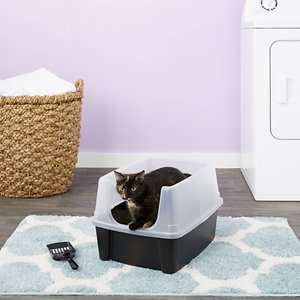 IRIS Open Top Litter Box with Shield & Scoop