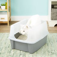 IRIS Open Top Litter Box with Shield & Scoop, Dark Gray