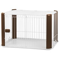 IRIS Pet Wire Dog Crate with Mesh Roof, Brown, Small