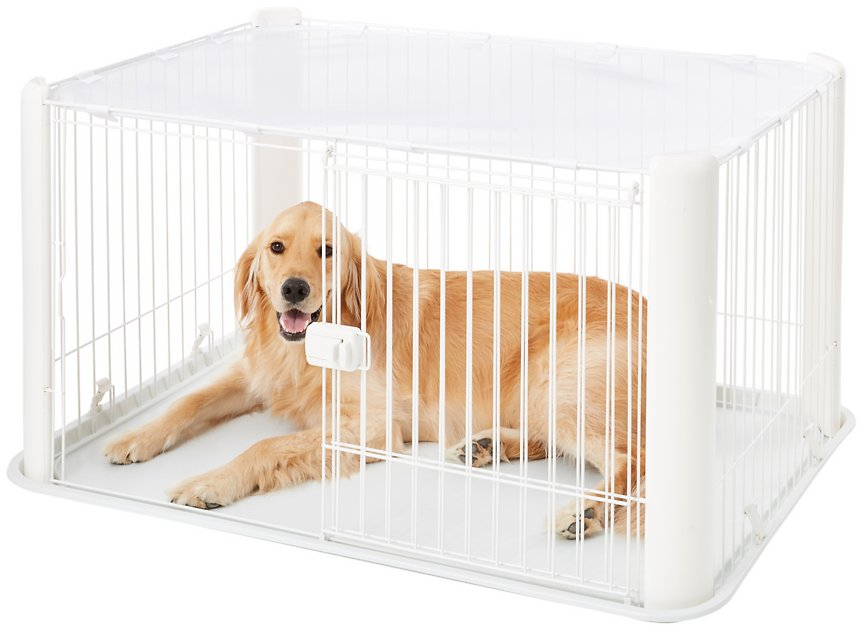 Iris Pet Wire Dog Crate With Mesh Roof White Large