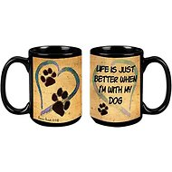 "Pet Gifts USA Pawmarks on My Heart ""Life is Just Better When I'm with my Dog"" Coffee Mug, 15-oz"