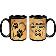 "Pet Gifts USA Pawmarks on My Heart ""My Children Have 4 Paws"" Coffee Mug, 15-oz"