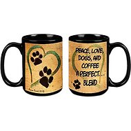 "Pet Gifts USA Pawmarks on My Heart ""Peace, Love, Dogs, and Coffee"" Coffee Mug, 15-oz"