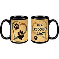 "Pet Gifts USA Pawmarks on My Heart ""Who Rescued Who?"" Coffee Mug, 15-oz"