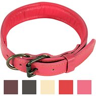 Logical Leather Padded Dog Collar, Medium, Pink