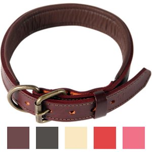 Logical Leather Padded Dog Collar, Brown, Large